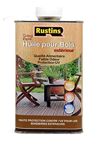 Rustins – Aceite de madera incoloro de secado rápido para interior y exterior protegido contra los rayos UV, 500 ml
