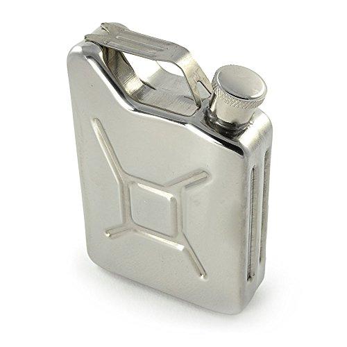 Flachmann - design jerrycan, met schroefsluiting, 5 oz, van roestvrij staal, roestvrij staal, platte mann, zakfles, draagbare borrelfles, voor whiskey, wodka, gin, jenever, kleur: zilver - merk Ganzoo
