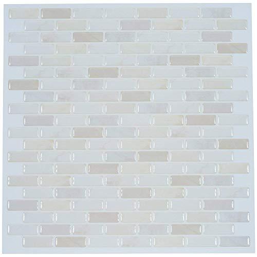 【 Dream Sticker 】 モザイクタイルシール キッチン 洗面所 トイレの模様替えに最適のDIY 壁紙デコレーション BST (ブリックホワイト, 1枚)