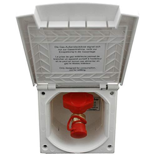 Gas Gassteckdose Außensteckdose Versorgungsklappe Wohnmobil Wohnwagen Caravan weiß (HA)