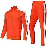 Shinestone Men's Sport Casual Tracksuit Warm Up Suit Gym Training Wear (Orange, L)