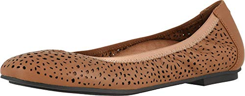 Vionic Women's Spark Robyn Perf Ballet Flat - Ladies Dress Casual Everyday Flats with Concealed Orthotic Arch Support Toffee 9 Wide US