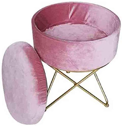 JIABAO Round Iron Storage Footstool Dressing Table Stool Soft Bag Dressing Stool Wrought Iron Shoe Stool with Removable Cover, Height 45cm
