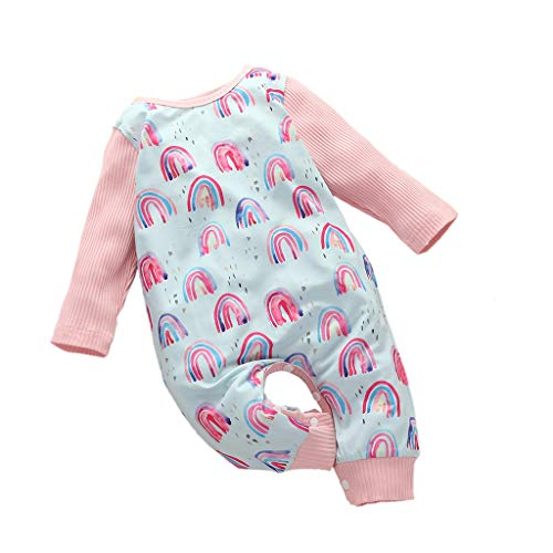 Armilum Infants Long-Sleeved Baby Romper, Jumpsuits Floral Leopard Stripes Polka dot Baby Hammock Romper,Knit Rainbow Print Romper Jumpsuit Outfits Playsuit