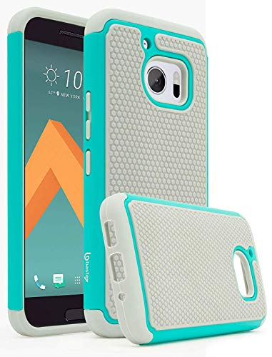 HTC 10 Case, Bastex Hybrid Slim Fit Rugged Grey Rubber Silicone Cover Hard Plastic Teal & Grey Shock Case for HTC 10 HTC M10 HTC One M10