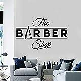 Ajcwhml Vinylwandapplikationsfriseurfriseursalonlogo-Logo-Haarschnitt, der Schönheitswand-Fensteraufkleber rasiert, ist Wandfrisurwand