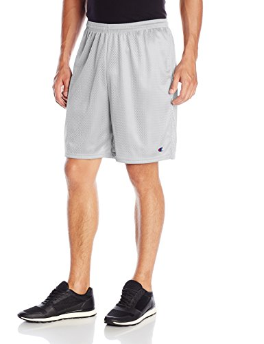 Champion Men's Long Mesh Short With Pockets,Athletic Gray,Small