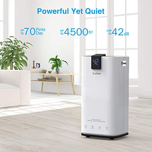 COLZER 70 Pints Dehumidifiers for Home Basements, Bathroom and Large Room up to 4,000 sq ft, Large Capacity Compact Dehumidifier with 7.4 Pints-Water Bucket & Continuous Drain Hose for Self-draining