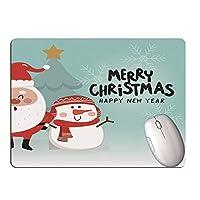 クリスマスパターンかわいい雪だるまキーボードマット滑り止めサンタクロースゲーミングマウスパッドラップトップデスクマット-K_30 * 25
