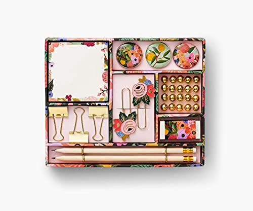 Rifle Paper Co. Garden Party Tackle Box, Everything You Need to Stay Organized, Includes Pencils, Push Pins, Binder Clips, Paper Clips, Magnets, and More