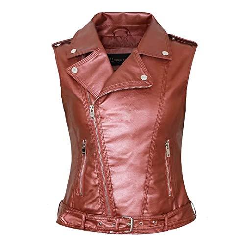 RAMISU Girls Motorcycle Biker Faux Leather Sleeveless Vest Jacket Slant Zip with Pockets sliver Winered Medium RA8007