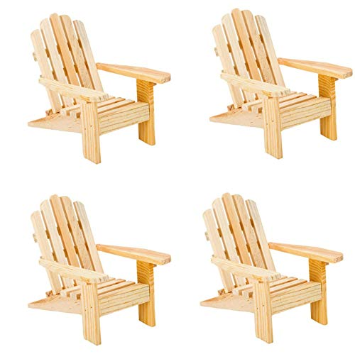 Gute Bote Wood Adirondack Miniature Chair - Unfinished Natural Wood Wedding Cake Topper Favor Mini Doll Furniture Dollhouse Top Decoration Beach Theme (4 Pack)