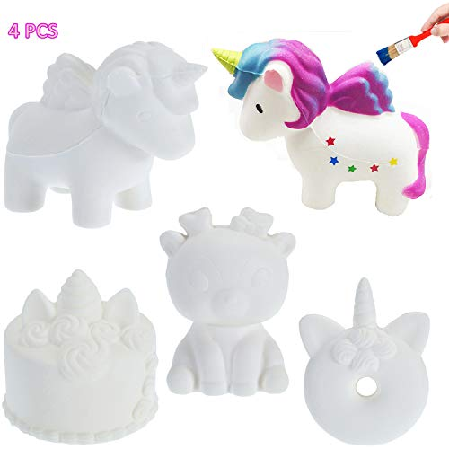 CAMTOP DIY Squishies Slow Rising Squishy Toys White Plain Jumbo Animal Party Favors Soft Stress Relief Toys Doll for Kids and Adults