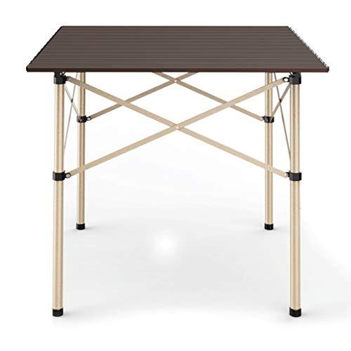 LZL Mesa de camping plegable, ligera y duradera, mesa de camping, ligera y portátil, para interior y exterior, se utiliza como mesa de picnic plegable (color marrón)
