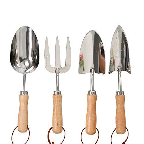 Juego de herramientas de jardín de 4 piezas, juego de herramientas extra suculentas, diseño bastante floral, mango de madera ergonómico,almohadilla para la rodilla de alta densidad,siembra,invernadero