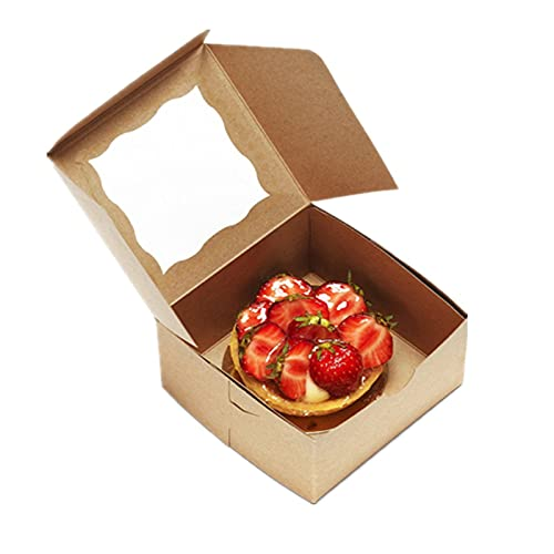 MMZB 20Pcs Kraft Bakery/Pie Box, 8 x 8 x 2.5 Inch, Brown Paper Cardboard Gift Packaging - for Cupcake, Cookies and Pastry, Restaurant, Shipping Containers