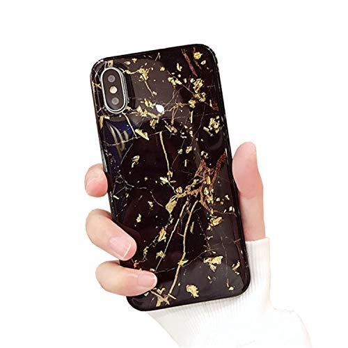Dancila - Carcasa para iPhone 7 Plus, diseño de Hoja Dorada de protección de absorción de Golpes, Silicona antigolpes, para iPhone 6/7/8 Plus Black Marble Talla única
