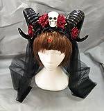 Changlesu Horn Stirnband Gothic Devil Floral Horns Kopfschmuck Halloween Schädel Zubehör mit...