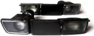 Black Smoke Euro Front Bumper Turn Signal Fog Lights + Covers For VW Golf Jetta MK3 3