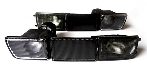 Black Smoke Euro Front Bumper Turn Signal Fog Lights + Covers For VW...