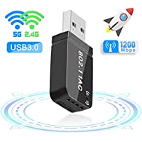 Maxesla WiFi USB 3.0 Antena Adaptador 1200Mbps Mini WiFi Receptor Banda Dual 2.4G / 5GHz, para PC Desktop Laptop Tablet, Soporta Windows 7/8 / 8.1/10 / Mac OS 10.7-10.12 / Mac OSX