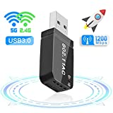 FAGORY WiFi USB 3.0 Antena Adaptador 1200Mbps Mini WiFi Receptor Banda Dual 2.4G / 5GHz, para PC Desktop Laptop Tablet, Soporta Windows 7/8 / 8.1/10 / Mac OS 10.7-10.12 / Mac OSX