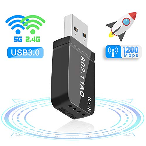 Maxesla Mini USB 3.0 WiFi Adaptateur 1200Mbps Clé WiFi Dongle AC Dual Band, WiFi Wireless Adaptateur Compatible avec Windows 7/8 / 8.1/10 / Mac OS 10.7-10.12 / Mac OSX