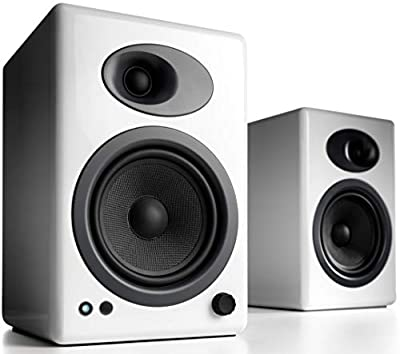 Audioengine A5+ 150W Wireless/Wired Bookshelf Speakers | Built-in Analog Amplifier | aptX HD Bluetooth 24 Bit DAC, RCA and 3.5mm inputs | Solid Aluminium Remote Control | Cables included (Wired, White) from Audioengine
