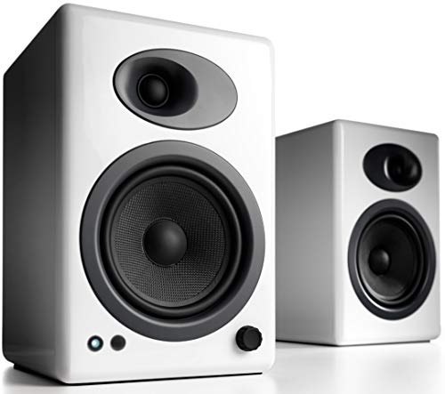 Audioengine A5+ (Plus) Powered Speaker | Desktop Monitor Speakers Computer Sound System | 150W Premium Powered Bookshelf Stereo Speakers Pair, AUX Audio, RCA Inputs/Outputs, Remote Control (White)