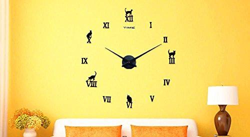 éclairage Europe Kitty minimaliste Salon Horloge murale Mode Art Horloge montre DIY personnalisé montres créativité