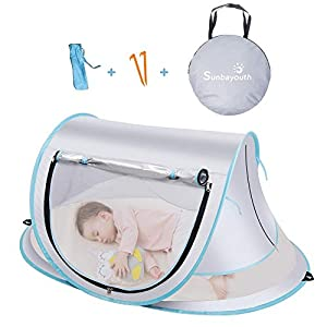 crib bedding and baby bedding sunba youth baby tent, portable baby travel bed, upf 50+ sun shelters for infant, pop up beach tent, baby travel crib with mosquito net, sun shade … (gray)