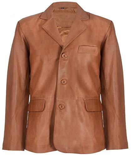 Men's Tan Genuine Leather Blazer Soft Real Italian Tailore Vintage Jacket Coat 5XL