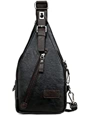 Men's Leather Sling Bag Chest Shoulder Backpack Crossbody Anti Theft Casual Daypacks Travel Hiking Cycling Messenger Bag