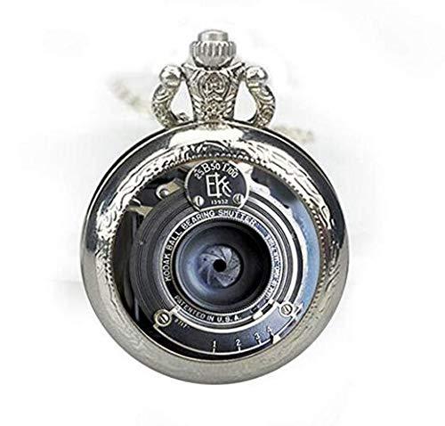 Delicadamente hecho de metal PendanVintage cámara lente reloj de bolsillo collar, Fine...