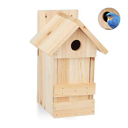 Relaxdays Nistkasten, Nisthöhle für Vögel, zum Aufhängen, unbehandeltes Holz, Flugloch Ø 2,8 cm, 25 x 16 x 14 cm, natur