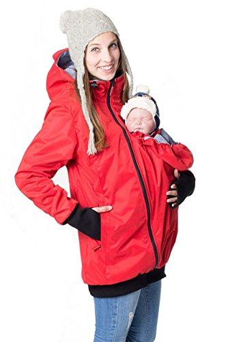GoFuture Damen Tragejacke für Mama und Baby 4in1 Känguru Jacke Umstandsjacke aus Concordia Shell und Fleece LOVEWINGS GF2070XB in Rot mit blau-weissem Karo