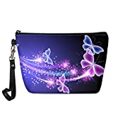 INSTANTARTS Women Girl Butterfly Cosmetic Bag Outdoor Casual Travel Accessories Set Pu Leather Waterproof Makeup Bag Toiletry Bag