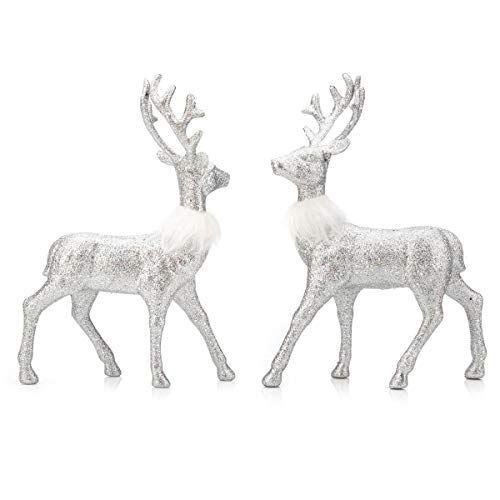 ARCCI Reindeer Decorations Standing Christmas Figurines Deer, Silver Glitter Holiday Reindeer (Silver)