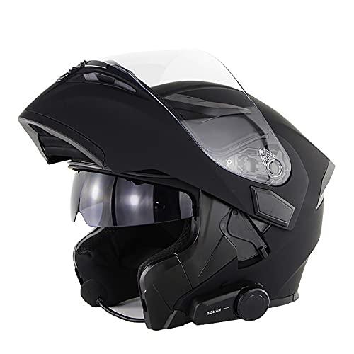 Casco De Moto Modular Bluetooth Integrado, Casco de Motocicleta con Bluetooth Integrado con Doble Visera Cascos De Motocicleta Certificado DOT/ECE para Adultos E,S=53~54CM