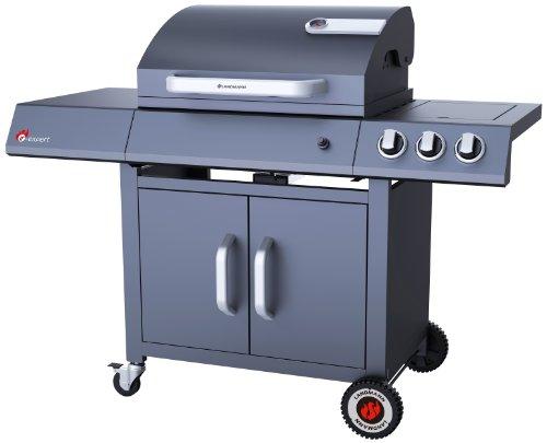 LANDMANN 12745 Barbecue à Gaz avec 2 Brûleurs Infrarouge + 1 Brûleur Latéral Émaillée Noir 76 x 49 x 61 cm