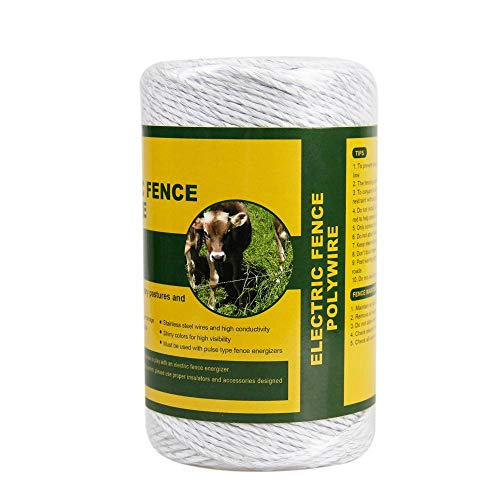 Farmily Portable Electric Fence Polywire, 656 Feet 200 Meter, 6 Conductors, White Color