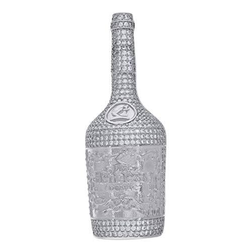 925 Sterling zilveren heren CZ kubieke zirkonia gesimuleerde diamant Hennessy Cognac fles hanger ketting afmetingen 60.3x22.3mm brede sieraden geschenken voor mannen