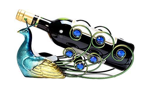 Mkuha Paon Casier à vin casier à Bouteille en Fer pour 1 Bouteille décoration,étagère à Bouteilles de vin,étagère à vin en métal Support de Fer,Porte-Bouteille de vin décoratif, 1
