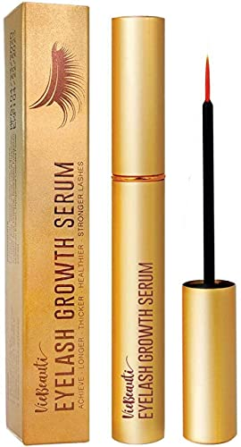 VieBeauti Premium Eyelash Growth Serum and Eyebrow Enhancement Formula, Boosts Natural Lash Growth for Thicker, Fuller Lashes and Eyebrows (3ML)   Gold Packaging, 0.1 Fl. Oz.