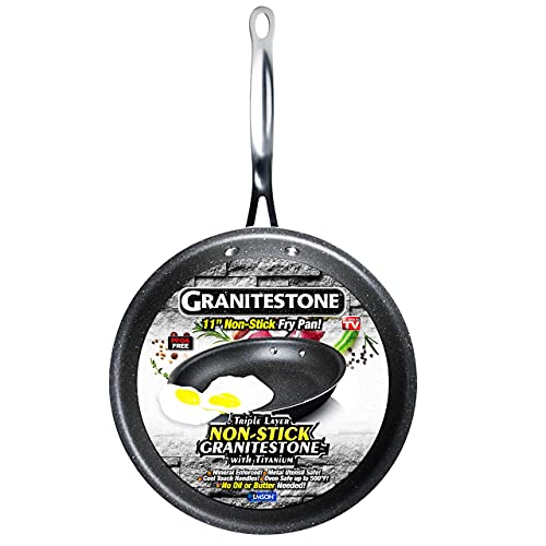 GRANITESTONE 2145 Triple Layer Coated Fry Pan, Super Non-stick and Scratchproof, No-warp, Mineral-enforced Frying Pans PFOA-Free As Seen On TV (11-inch)