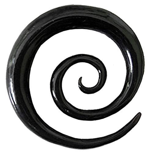 Chic-Net Tribal Buffalo Horn Piercing schwarz XL-Spirale Plug Expander Ohrhänger Ohrstecker 12 mm
