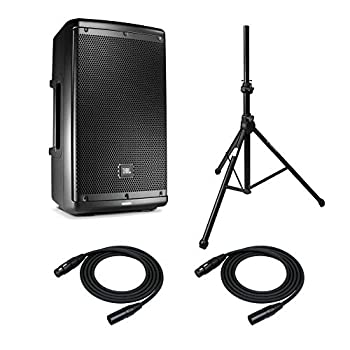 JBL EON610 10-Inch Two-Way Multipurpose Self-Powered Sound Reinforcement System with Stand and Cable Bundle  4 Items