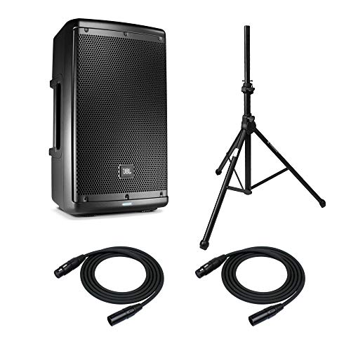 """JBL EON610 10"""" Two-way Multipurpose Self-powered Sound Reinforcement System with Knox Tripod Air-cushion Speaker Stand and 2 XLR Cables"""