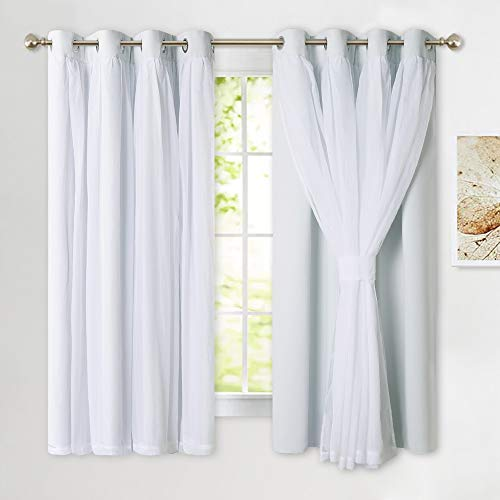 PONY DANCE Curtains Set Double Layers - Sheer Blackout Layered Draperies with Tie-Backs for Bedroom Windows, 52 x 63 inches, Greyish White, 2 Pieces