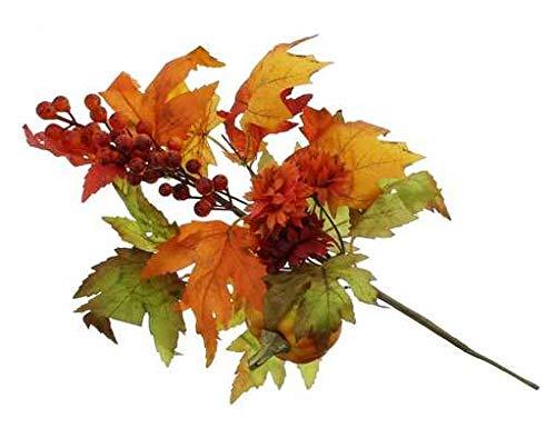 DEKO Herbstdekozweig mit Kürbis Beeren und farbenfrohen Blättern 42 cm lang Herbstdeko Tischdeko für den Herbst